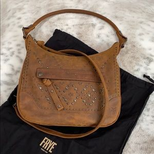Frye Melissa Small Studded Hobo Brown Leather NWOT
